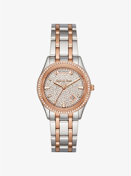 Michael Kors Kiley Pave Two-tone Watch - Silver/Bronze