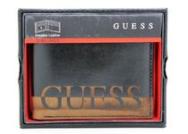 GUESS  ANSEL DOUBLE BILLFOLD BLACK LEATHER CREDIT CARD