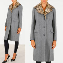 PR579 WOOL SINGLE BREASTED COAT WITH LEOPARD PRINT FUR