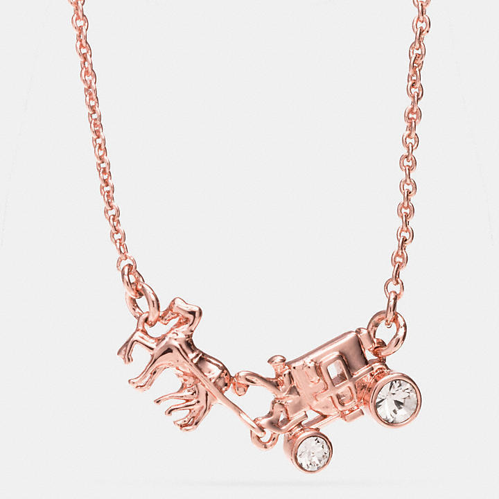 完売品 COACH PAVE horse and carriage necklace ピンクゴールド