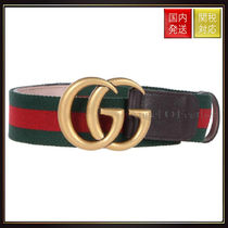 【グッチ】Double G Belt In Web Fabric And Leather ベルト