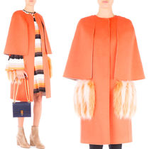 FE1634 FOX FUR TRIMMED WOOL FELT COAT