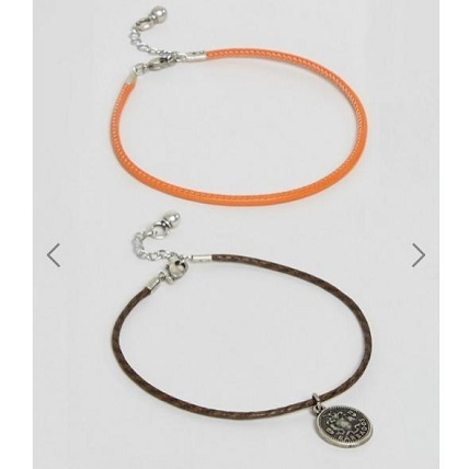 ASOS 2 Pack アンクレット With Burnished Coin