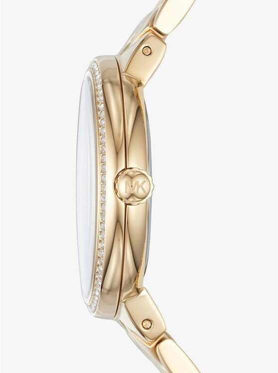 Michael Kors Courtney Pave Gold-Tone Watch