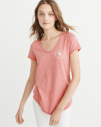 Abercrombie & Fitch Tシャツ・カットソー 【Abercrombie&Fitch】LOGO GRAPHIC TEE シンプルVネックTシャツ(2)