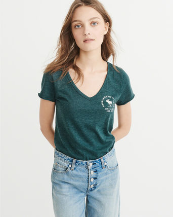 Abercrombie & Fitch Tシャツ・カットソー 【Abercrombie&Fitch】LOGO GRAPHIC TEE シンプルVネックTシャツ(3)