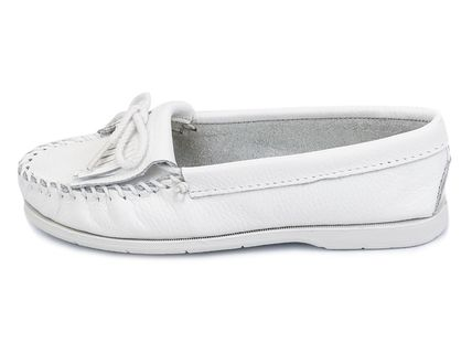 Minnetonka スリッポン MINNETONKA モカシン KILTY UNBEADED WHITE chjm204white(2)