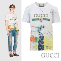 【GUCCI】Tシャツ コットン ロゴ ヴィンテージ 絞り染 白