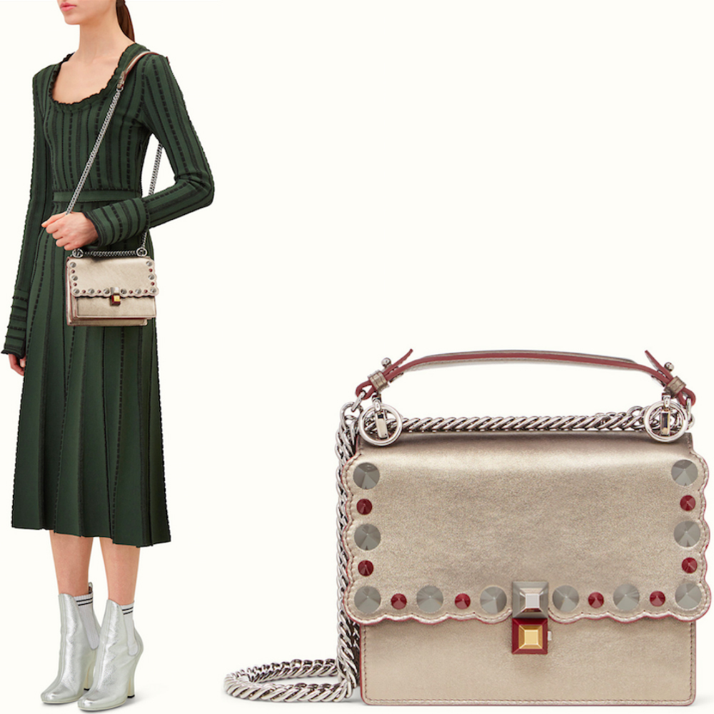 FE1651 STUDDED SMALL 'KAN I' BAG WITH WAVY EDGE