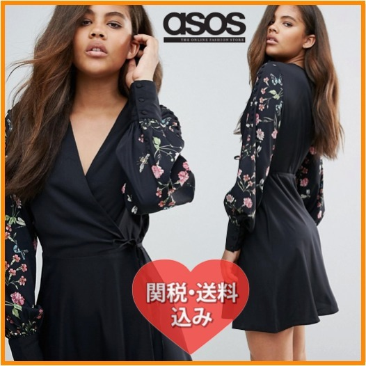 国内発[関税・送込]ASOS Vero Moda Tall Long Sleeve Wrap Dress