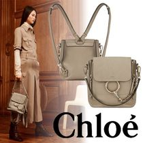 Chloe Faye Small Leather Backpack Grey 2way