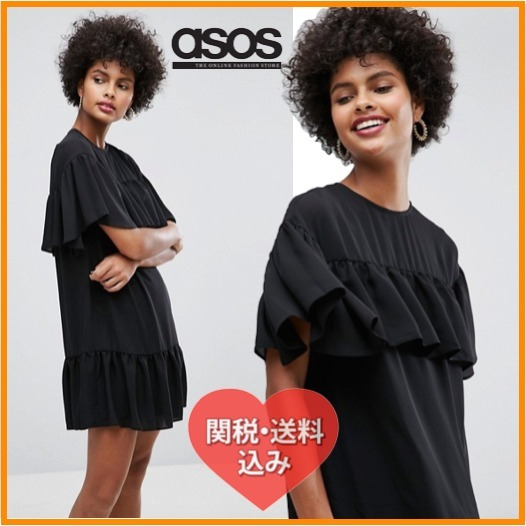 国内発[関税・送込]ASOS Sheer Shift Dress with Pep Hem
