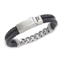 ★Steve Madden★Men's Stainless Steel & Leather Bracelet