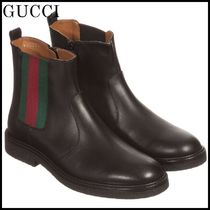 GUCCI(グッチ) ブーツ 【関税/送料込】GUCCI Black Leather Chelsea Boots 国内発送