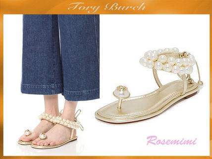 パールが可愛いサンダルTory Burch Melody Ankle Strap Sandals