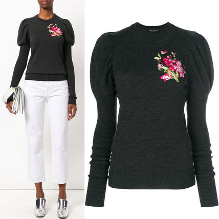 17-18AW DG1217 FLORAL EMBROIDERED SWEATER WITH JULIET SLEEVE