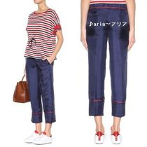 【関税送料込】MONCLER Cropped silk trousers navy♪