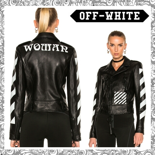 17AW【送関込】Off-White☆Diagonal Sleeve レザーJK☆ローラ