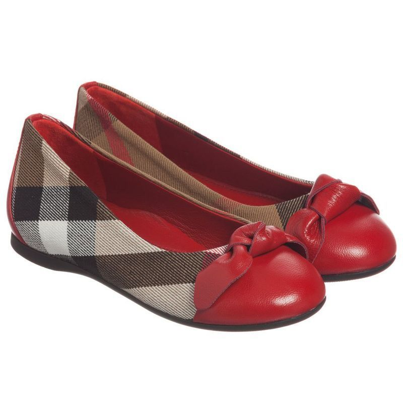 【関税/送料込】Burberry Girls Black Checked Shoes 国内発送