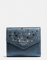 COACH◆SMALL wallet in metallic leather with star rivets