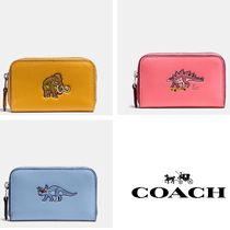 COACH◆恐竜 Embossed Small Zip Case In Glovetanned Leather