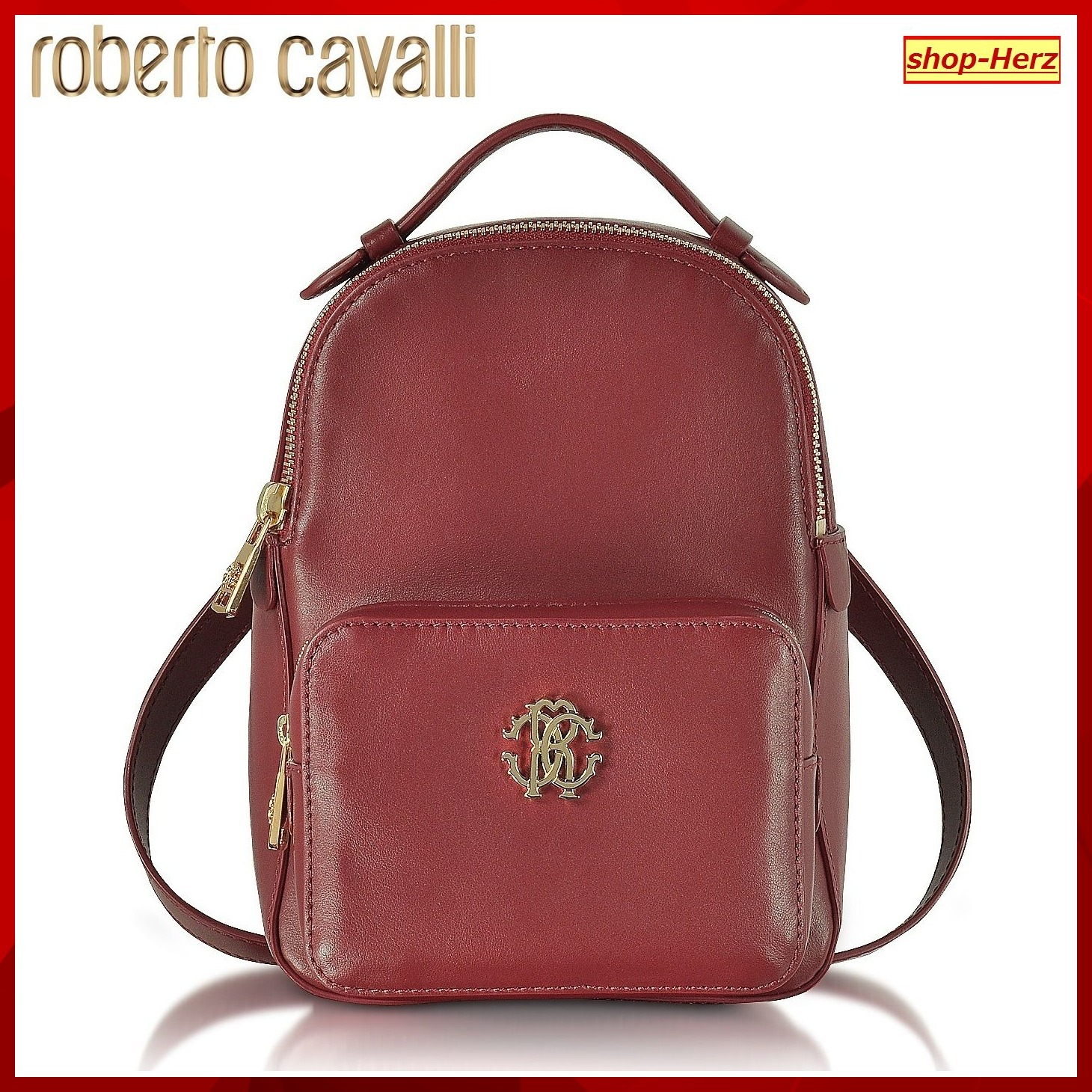★Roberto Cavalli★ Small Leather Red バックパック 関税込