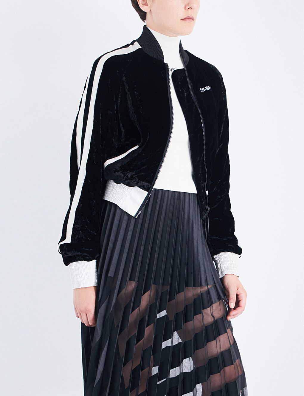 OFF-WHITE★オフホワイト★Striped velvet bomber jacket