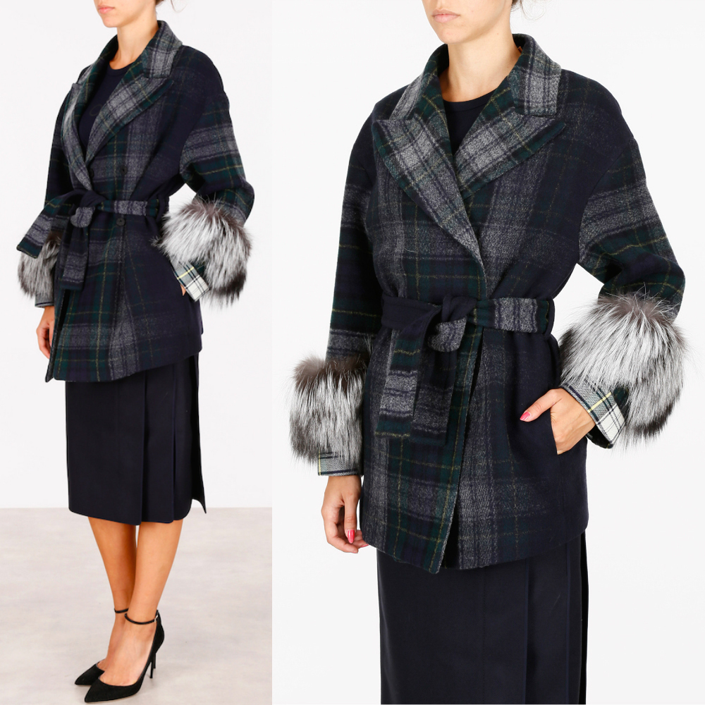 PR589 TARTAN CHECK BELTED COAT WITH FOX FUR TRIM