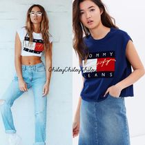 【Hilfiger Denim】90s Flock Cropped Tank /タンクトップ