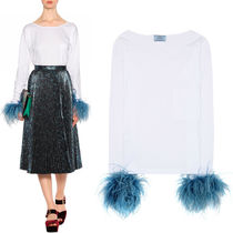 PR594 OSTRICH FEATHER EMBELLISHED COTTON TOP