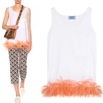 PR595 OSTRICH FEATHER EMBELLISHED COTTON TOP