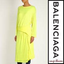 【国内発送】Balenciaga Asymmetric-peplum jersey midi dress