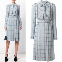 17-18AW V767 WINDOWPANE-CHECK SILK MIDI DRESS WITH BOW