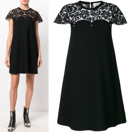 17-18AW V772 LACE PANELLED FLARE MINI DRESS WITH STUDS