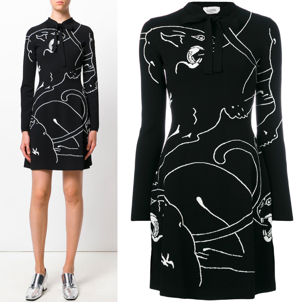 17-18AW V775 PANTHER INTARSIA KNIT DRESS WITH BOW TIE