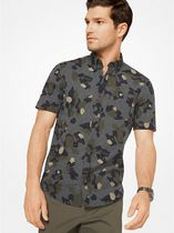 Slim-Fit Camouflage and Check Cotton Shirt