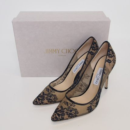 JIMMY CHOO★ROMY LEATHER-TRIMMED LACE 100 PUMPS[RESALE]