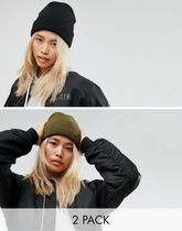 ASOS(エイソス) ハット ASOS 2 Pack Beanie In Black and Khaki
