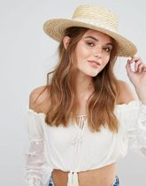 SOUTH BEACH(サウスビーチ) ハット South Beach Straw Boater Hat with Crochet Band