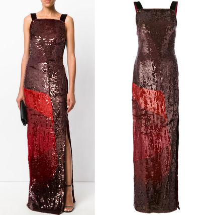 17-18AW TF016 GEOMETRIC SEQUIN GOWN WITH VELVET DETAILS
