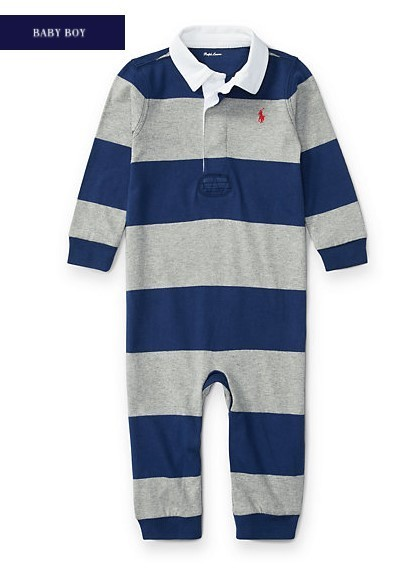新作♪国内発送  STRIPED COTTON RUGBY COVERALL  boys 0~24M