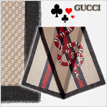 17SS★GUCCI★Web and snake print ウールスカーフ