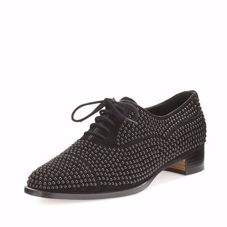 【Manolo Blahnik】Perlita Studded Suede Oxford, Black 人気
