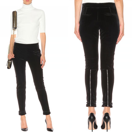 17-18AW TF033 VELVET LEGGINGS WITH ANKLE CUFF & ZIP