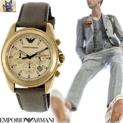 【EMPORIO ARMANI】Brown Leather・ドレスウォッチ