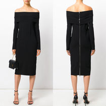 17-18AW TF038 COMPACT JERSEY OFF SHOULDER DRESS WITH ZIP