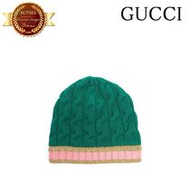 GUCCI(グッチ) ハット GUCCI グッチ Striped-edge cable-knit beanie hat