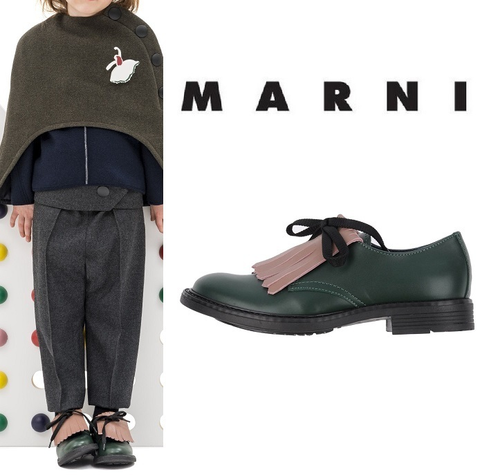 MARNI★大人OK・フリンジ・LACE-UP SHOES ・グリーン・2017AW