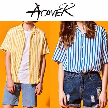 ACOVER★2017SS VERTICAL STRIPE OPEN COLLAR アロハシャツ 2色