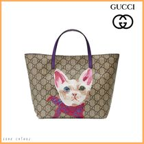 GUCCI(グッチ) トート・レッスンバッグ 2日内発◆GUCCI◆大人もOKキッズ GGプリントトート*キャット
